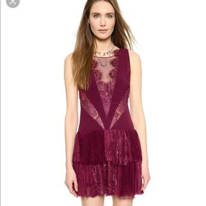 Free people red black dove lace mesh dress 0